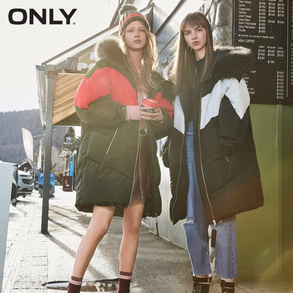 ONLY 2018 Winter Wholesale   Down   Jackets Long Woman Thick Parkas   Coat   Promotion Duck Raccoon Fur Hooded Over knee |117312515