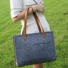 de84a7cce Foco vista Marca Feltro Cinzento Designer Lady Bolsas de Ombro Tote Bolsa  Simples Sacos de Mulheres. 2 Cores Disponíveis