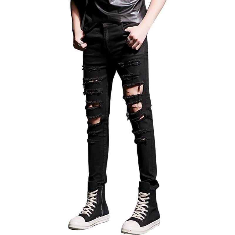 Высокая уличный стиль хип-хоп панк Для мужчин уничтожены Джинсы для женщин дырочку мужской Повседневное джинсовые штаны в стиле панк-рок го... ...