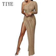 YIYE Crochet Knitted One Shoulder Beach Long Dress Sexy Women Hollow Out Cover Ups High Split Tunic Ladies Summer Dresses
