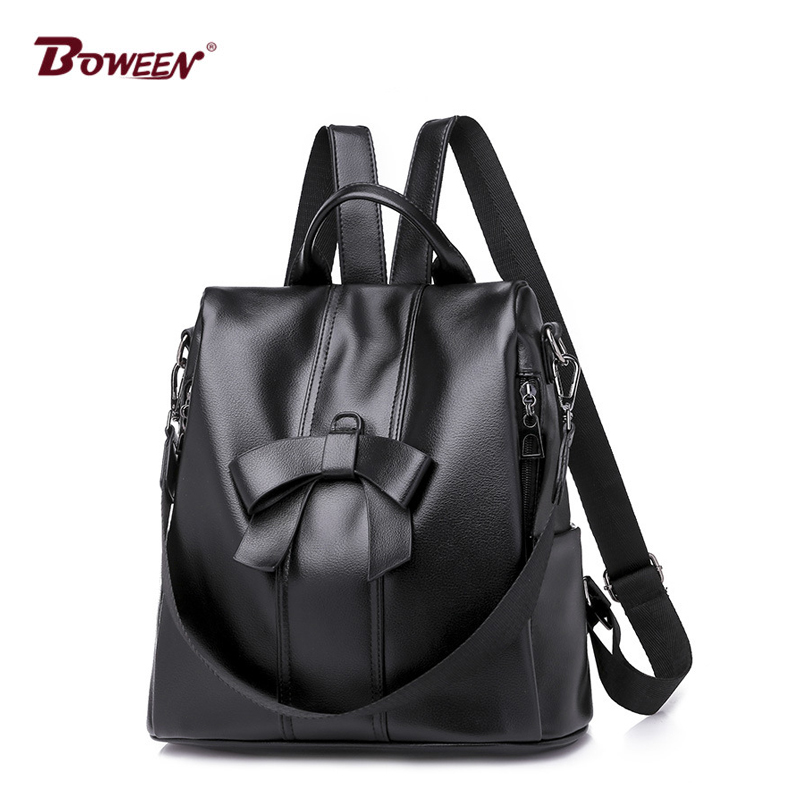 Fashion Bow Sweet lady backpack leather pu soft Solid Pink girl back pack women Preppy Style female bagpack bag black 2018 new vans wm realm backpack pink lady ph