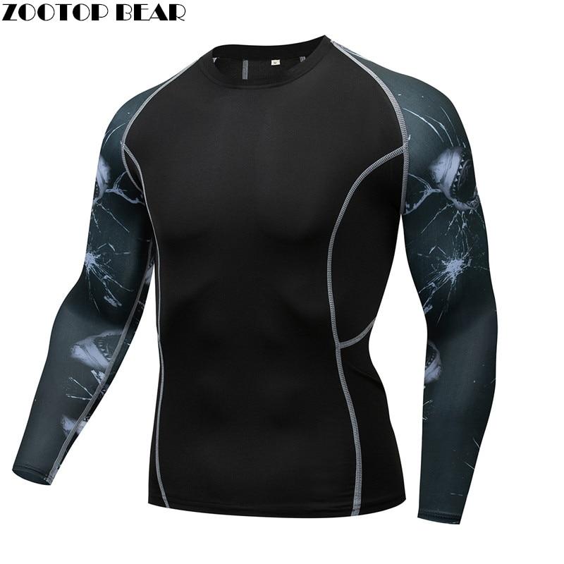 Shark MMA Compression shirt Men shirt quick dry Elastic Base Layer Skin Tight Weight Lifting Crossfit Top Tee Rash guard Fitness