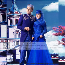 Royal Blue 2016 Long Sleeve Muslim Robe de Mariage Hijab Dubai Saudi Arabia Flowers Lace Event Gown Women Prom dress