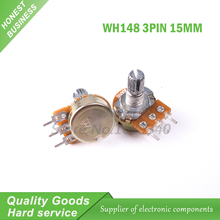 5PCS 50K ohm WH148 B50K 3pin  Potentiometer 15mm Shaft With Nuts And Washers WH148-50k shaft-15mm