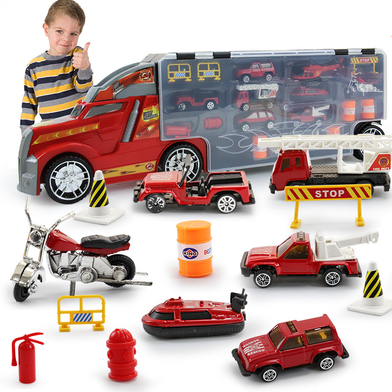 22 in 1 Child Toy Fire Truck Set Diecasts and Toy Vehicles Educational 1:24 Transport Cars Carrier Toy For Children Boys цена