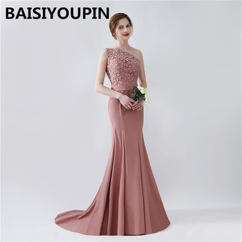 Long Dress Elegant Vestidos De Festa Longo 2020 One Shoulder Prom Dresses Mermaid Evening Dresses