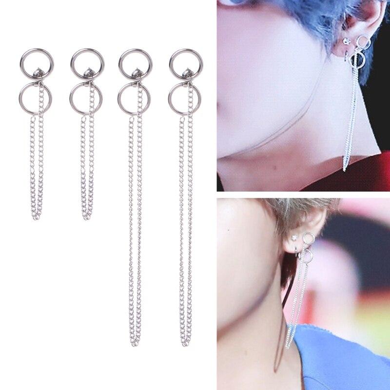 KPOP BTS Bangtan DNA V Kim Tae Hyung Titanium Stainless steel Tassel Earrings Korean Jewelry Jan3  -W128