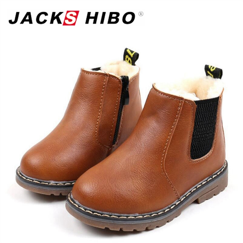 JACKSHIBO New Winter Kids Snow Boots Childrens Ankle Girl Fur Unisex PU Leather Shoes for kids