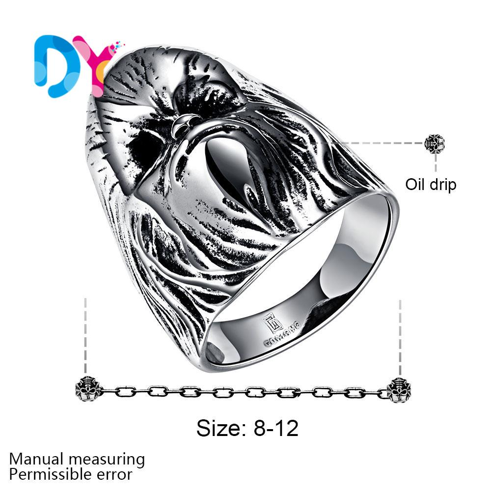 2016 New Men Rings Skull Head Ring 316L Stainless Steel Jewelry Men