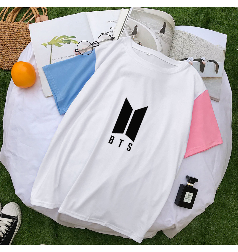 Harajuku Summer T Shirts Women Korean Kpop BTS Fashion Loose Cotton Patchwork Tee Shirt Femme Camiseta Mujer Tops Casual Clohtes (3)