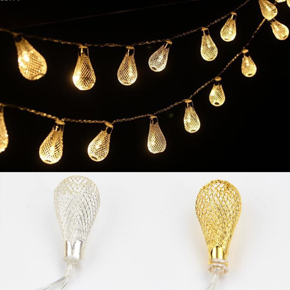 Night lights holiday - Led String Lights Hollow Out Iron Drop For Garden Wedding Party Christmas Fairy Night Lights Bedroom