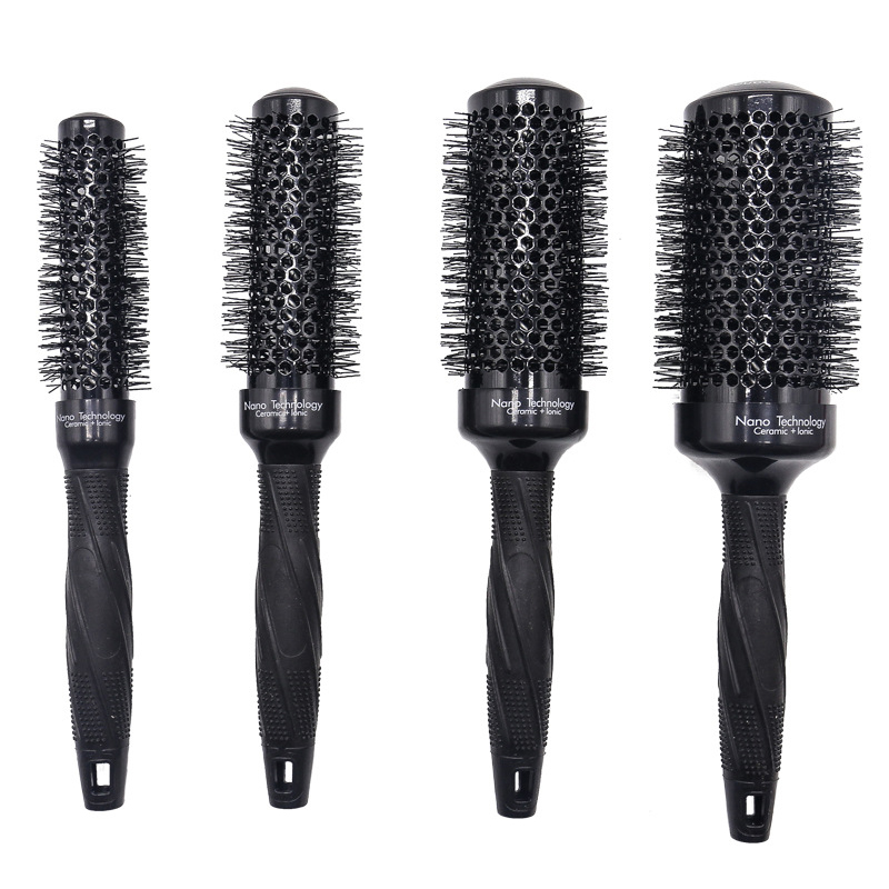 4pcs/set 4 Sizes Barber Ceramic Round Comb For Hair Salon Blowing Nano Aluminum Ionic Round Curly Hair Brush Drying Curling 1249
