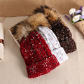 2017 New Listing Winter Knitted Fur pom pom Hat Women Spring Warm Braided Crochet Knitting Hat Girl Beret Ski Beanies Ball Cap