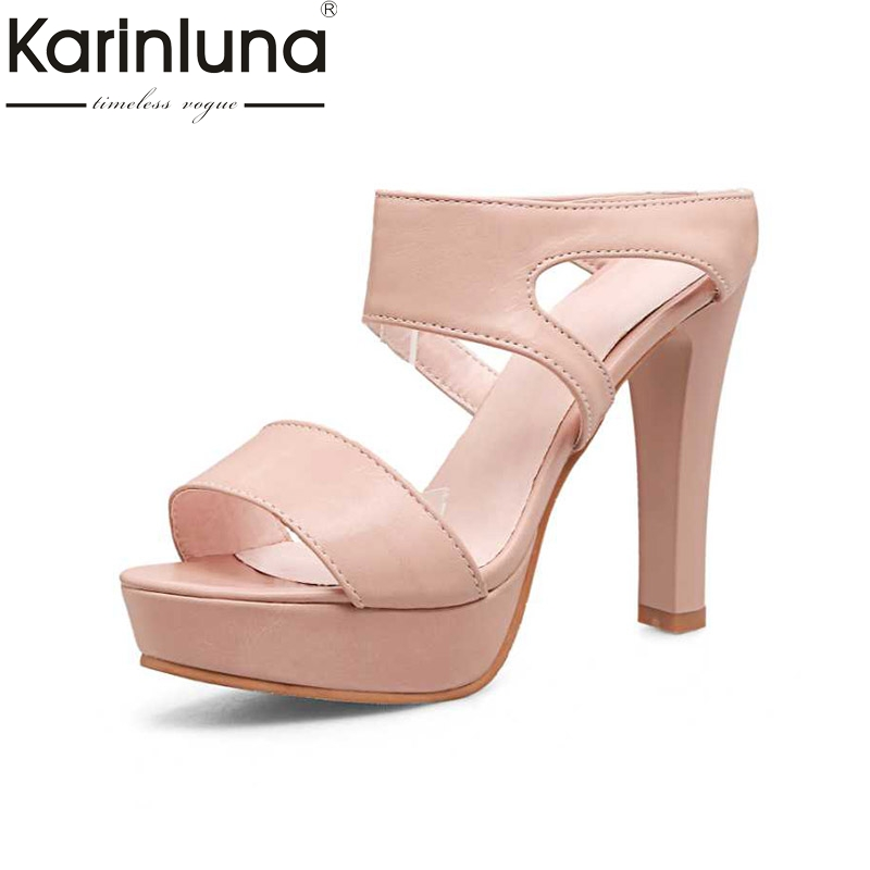 KARINLUNA 2018 Hot Sale Big Size 32-43 Sexy High Heel Platform Summer Shoes Open Toe Cutout Women Sandals hot sale big size 30 46 fashion summer women gladiator shoes sexy open toe pu leather slip on high heel sandals chd 66