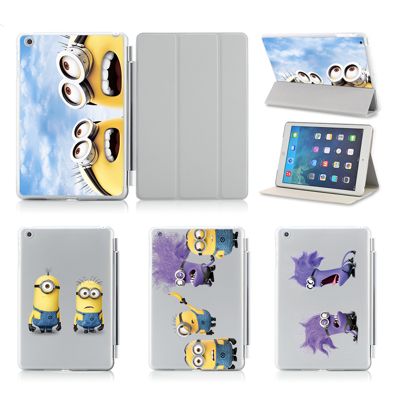 Funny Minions Tablet Smart Cover For Ipad Air 1 2 Case Ultra Thin Flip Leather Stand Luxury For Apple Ipad Air2 Case