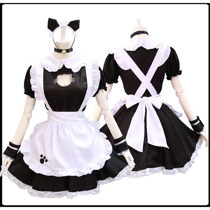 10-18 Halloween Anime Cosplay Costume Lolita French Maid Babydoll Dress Uniform