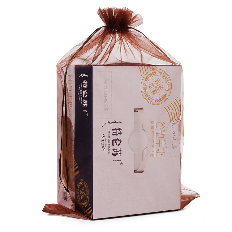 Custom Printing Organza Gift Bags 35x50cm 50pcs/Lot Brown Color Organza Hair Extention Packaging Bag