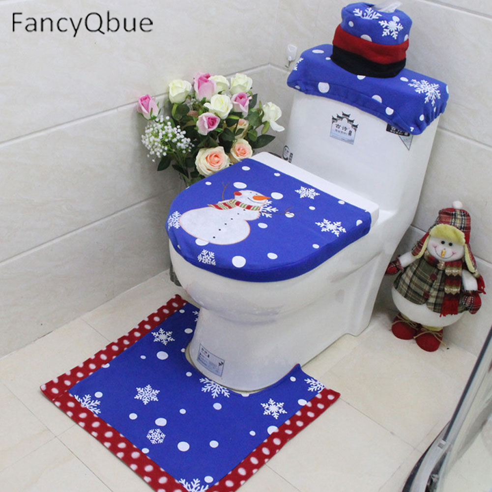 3 Pcs/set Christmas Snowman Toilet Seat Cover Foot Pad Water Tank Cover  Bathroom Christmas