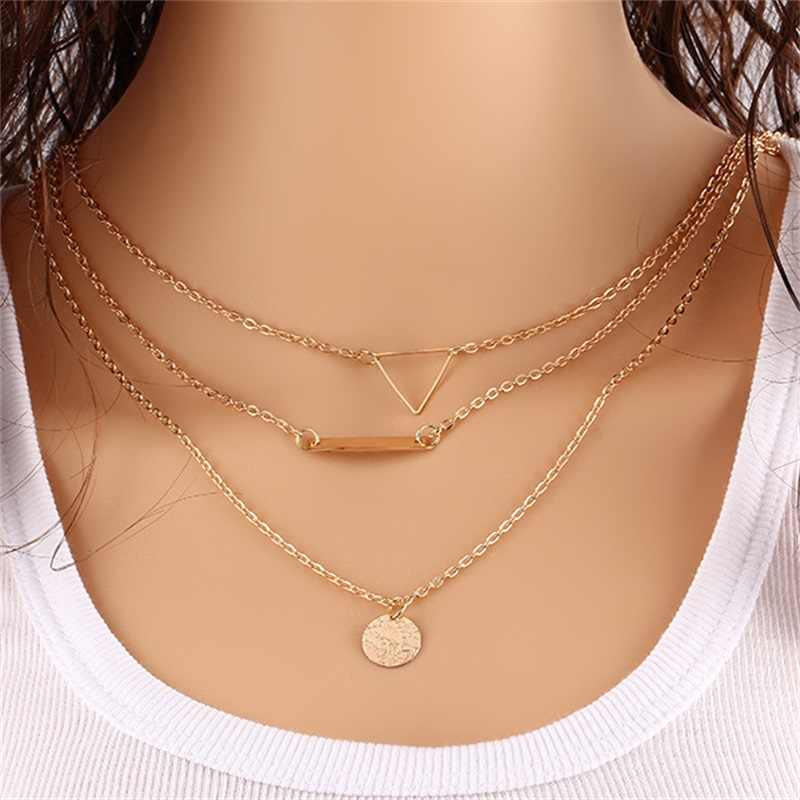 x357 The New Fashion Geometric Shapes Pendant Necklace For Women Concise Gold-color Jewelry Hot Sale Multi-layer Chain Necklace