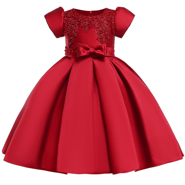 adea065e770434 2018 Baby Girl embroidery Silk Princess Dress for Wedding party Kids Dresses  for Toddler Girl Children Fashion Spring Clothing
