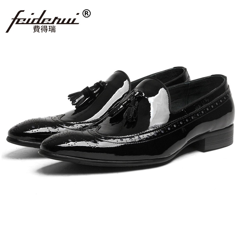 British Pointed Toe Carved Man Casual Shoes Patent Leather Male Brogue Oxford Loafers Luxury Brand Men's Comfortable Flats RF32 lotus jolly ballet flats faux leather women casual shoes tie vintage british oxford low pointed toe spring autumn zapatos mujer