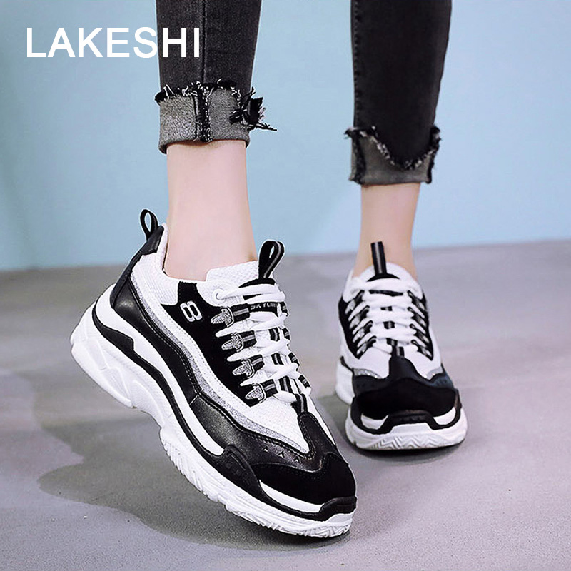 LAKESHI 2018 Spring Autumn Sneakers Women Casual Shoes Women Vulcanize Shoes Lace Up Thick Platform Shoes Letters White Sneakers smile circle spring autumn women shoes casual sneakers for women fashion lace up flat platform shoes thick bottom sneakers