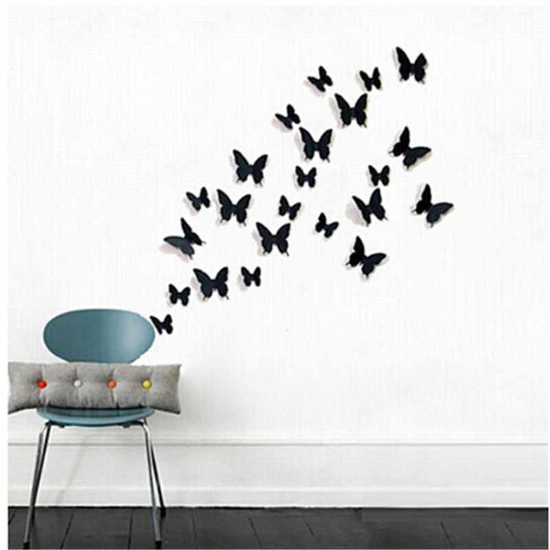 12Pcs PVC 3D Butterfly Wall Decor น่ารักผีเสื้อสติ๊กเกอร์ติดผนัง Art Decals หน้าแรกตกแต่งห้อง Wall Art