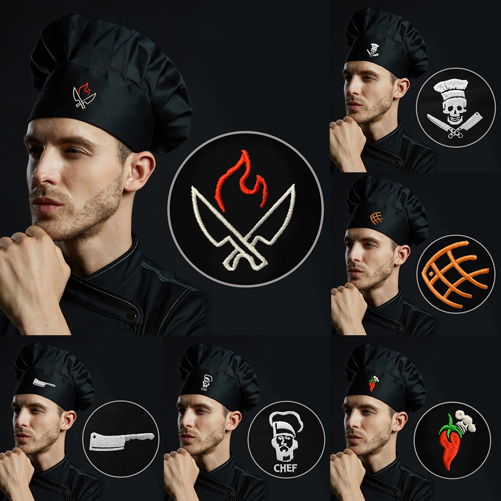 New Unisex Chef Hat Embroidery Adjustable Black Kitchen Hat Chef Waiter Uniform Men Women Restaurant Bakery Pastry Cooking Caps