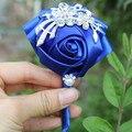 1 шт Ручной Чистый Цвет Букет Корсаж Diamond Rose Аксессуары для Свадьбы Невеста и Жених Цвет Опционный