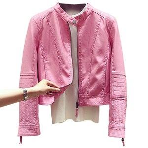 Женская байкерская куртка, кожаная облегающая куртка из искусственной кожи, A537