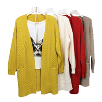 2017 Pure Color Korean Spring Autumn Women Sweater Long Cardigan V Collar Twist Knitted Long Sleeved