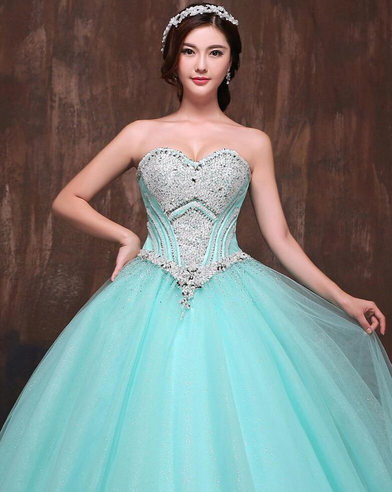 Ball Gown Beaded Mint Green Blue Red Pink Orange Strapless ...