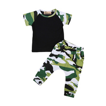 Zero-3T Summer Cotton Short Sleeve O-Neck Camouflage Toddler Infant Baby Boys T-Shirt Tops Pants Outfits Set Clothes 2PCS