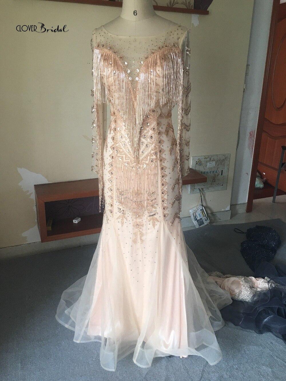 CloverBridal Glitter Vestidos De Fiesta De Noche Borlas Talla Grande Largo Elegantes Sirena Mermaid Tassels Evening Dress 2019