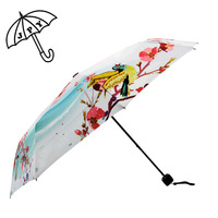 Characteristics Peach Blossom Pattern 3 Folding Silver Colloid Umbrella Double Thickening Sunshade Fan Sun UV Gift Parasol