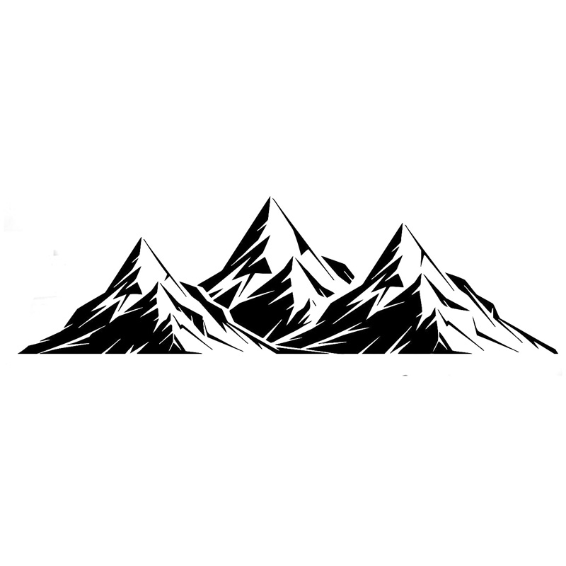 17.4cm*5.1cm Mountains Room Vinyl Car Styling Stickers Decals Decor Black/Silver S3-6202