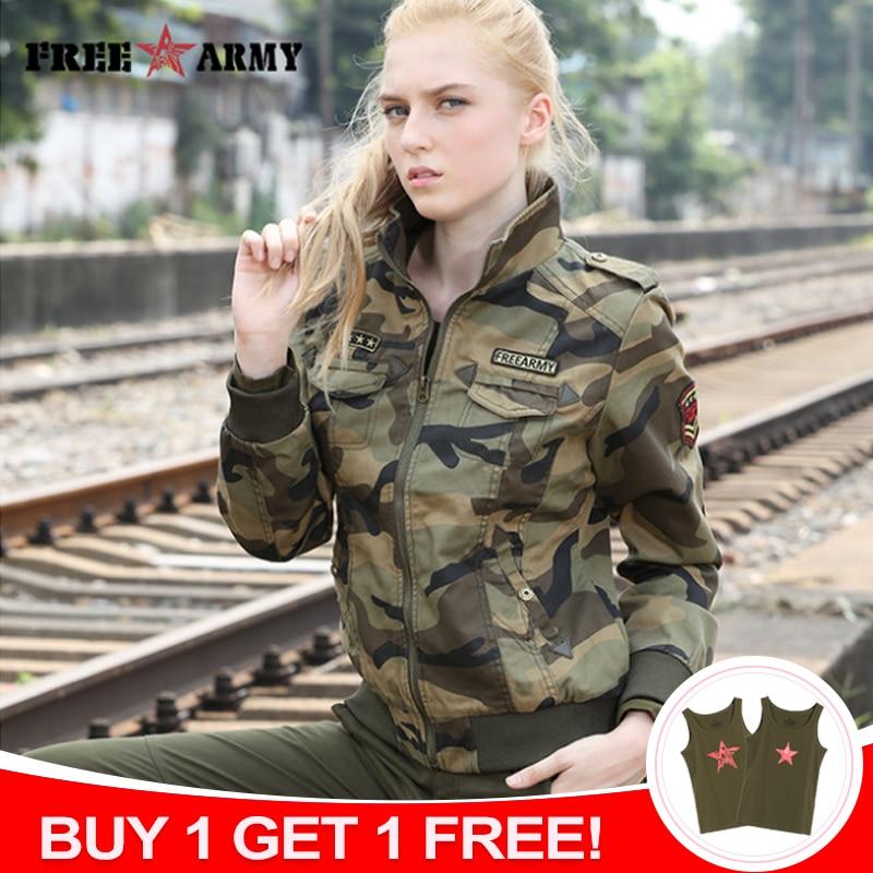 FreeArmy Značka Autumn Bundy Dámské New Denim Jacket Ženské Camouflage Jaro Bundy Pro ženy Pláště Bomber Jacket Camo Plus Velikost
