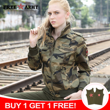 FreeArmy di Marca di Autunno Giubbotti Nuove Donne Giacca di Jeans Femminile Camouflage Autunno Giubbotti Per Le Donne Coat Bomber Giacca Camo Plus Size