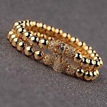 OIQUEI 2Pcs/Set Couple Bracelets For Women Men 2019 Gold 8mm Copper Bead&CZ Crown Beaded Charm Bnagles Bracelet Luxury Jewelry