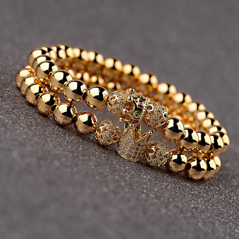 OIQUEI 2Pcs/Set Couple <font><b>Bracelets</b></font> For Women <font><b>Men</b></font> 2019 Gold 8mm Copper <font><b>Bead</b></font>&CZ Crown Beaded Charm Bnagles <font><b>Bracelet</b></font> Luxury Jewelry image