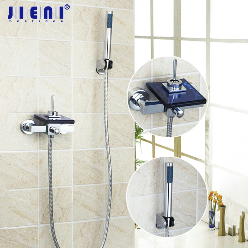 Waterfall Spout New Brand Blue Glass Wall Mounted Chrome brass bathroom bath sink mixer tap Bathtub Shower Sets Mixer Tap Faucet new chrome finish wall mounted bathroom shower faucet dual handle bathtub mixer tap with ceramic handheld shower head wtf931