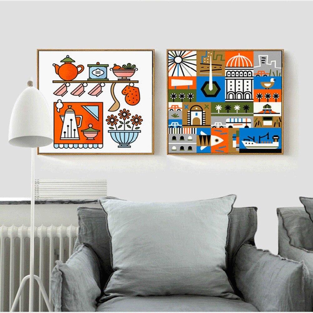 US $8.99 40% di SCONTO|Moderno Caldo Colorato Cucina Forniture Architettura  Quadri Su Tela Pittura Blu Arancio graffiti Poster Per Soggiorno-in ...