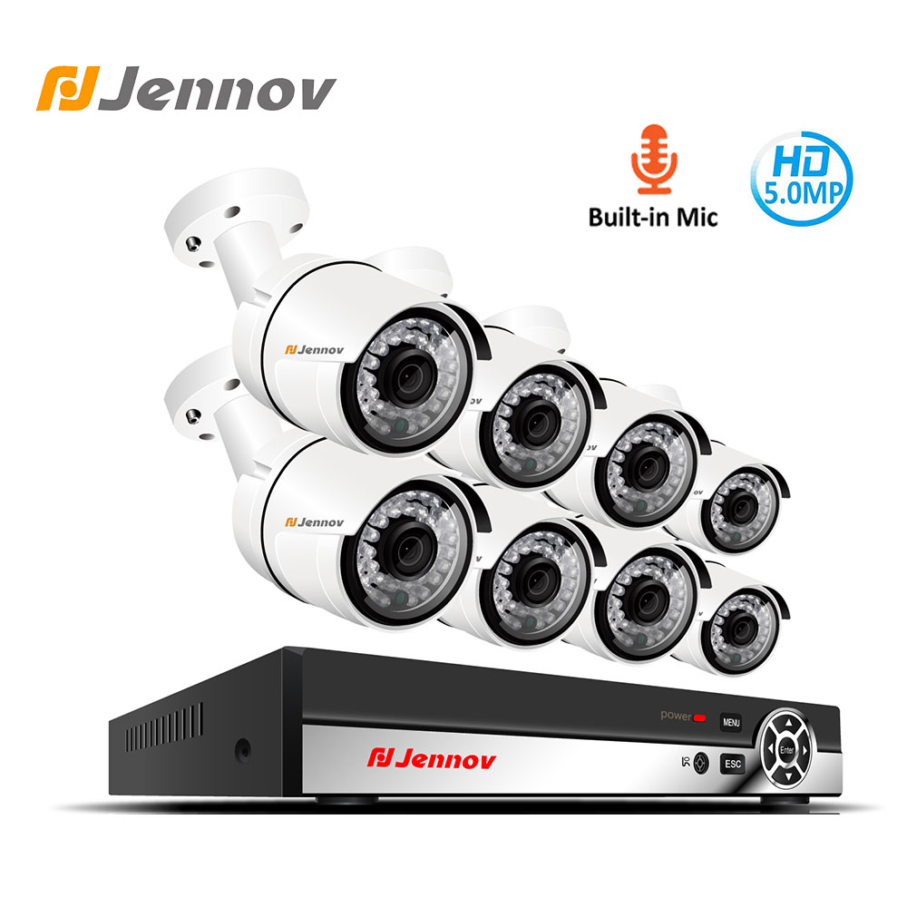 Jennov 8CH 5MP H.265 Audio Video CCTV Sistema de Câmera de Vigilância POE NVR Kit Conjunto de Sistema de Câmera de Segurança IP Cam HMDI p2P XMEye