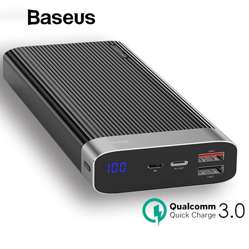 Baseus banco de potencia 20000 mAh USB tipo C PD + QC3.0 cargador rápido pantalla LED de la batería para el teléfono móvil externa LED de la batería externa
