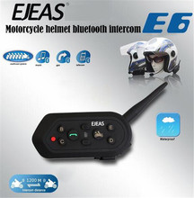 EJEAS E6 1200m Bluetooth Motorcycle Accessories Helmet Headset 6 Risers Intercom VOX Microphone Speaker Metal Clamps