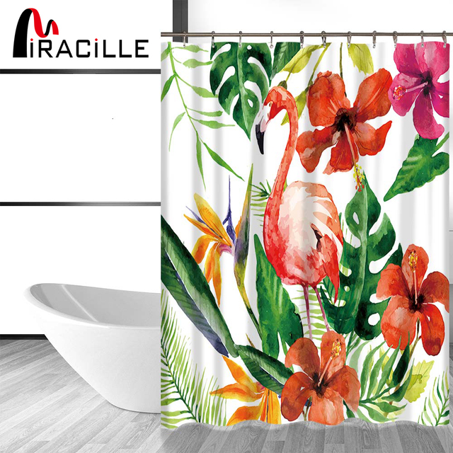 Miracille Tropical Flamingo Pattern Shower Curtain Waterproof Polyester  Fabric Curtain For The Bathroom Accessories Home Decor