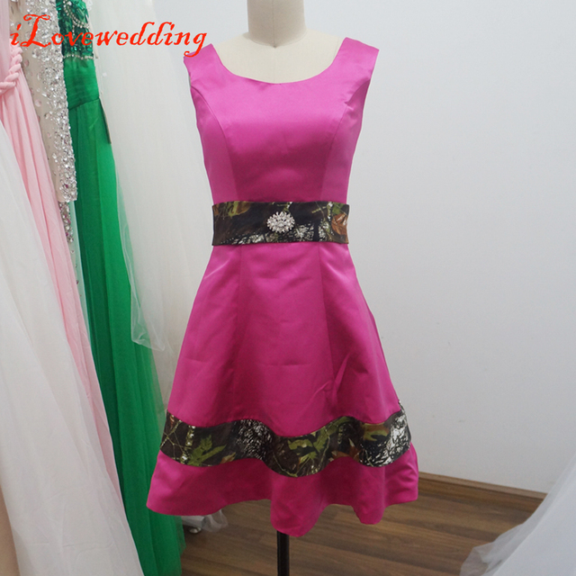 Real Image Short Prom Dresses Rose Satin with Camouflage Sleeveless ...