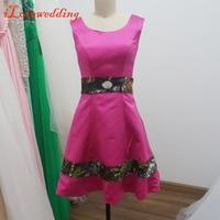 Reale immagine brevi prom dresses rosa in raso con camouflage maniche scoop neck prom gowns custom made abiti occasioni speciali