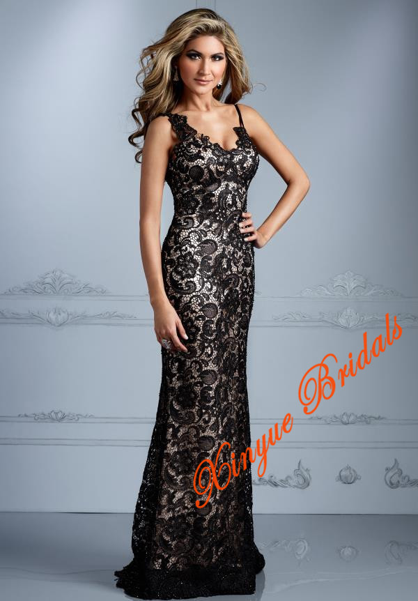 Spaghetti Straps Lace Detailing Throughout The Dress Slimming Unique