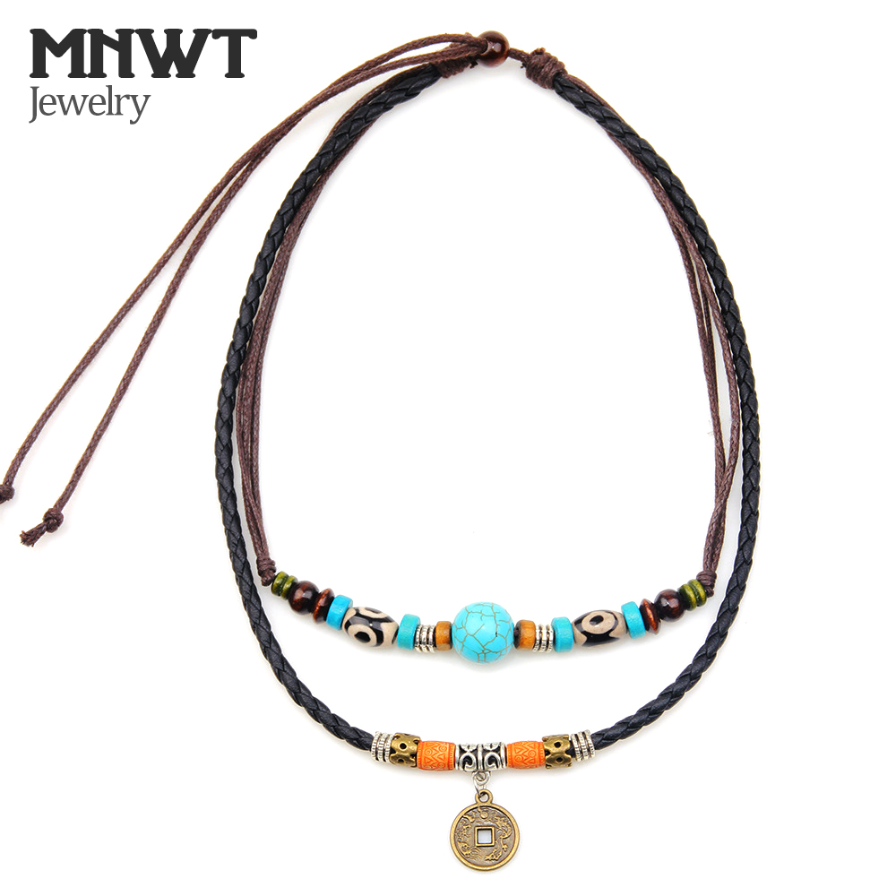 MNWT Bohemian Fashion Genuine Leather Men Necklaces Ancient Coin Pendant  Necklace/Multilayer Wood Beads Cross Necklace